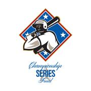 Stock Illustration of baseball championship series final retro.
