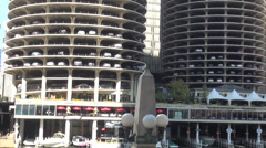Famous parking lot cylinder in Chicago Stock Footage