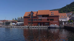 BERGEN, NORWAY: Port building + pan boulevard + market place Stock Footage