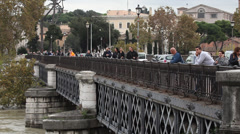 People on the bridge, Rome, Italy, Tiber, medium Stock Footage