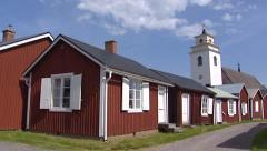 Church village of Gammelstad wooden cabins + pan church Stock Footage