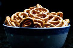 A bowl of salted pretzels Stock Photos