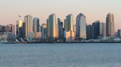 San diego skyline from the water at sunset Stock Footage