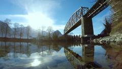 Bridge river water reflection. diving dive. underwater. landscape Stock Footage