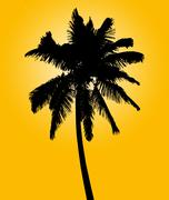 Silhouette of coconut palm isolated on yellow Stock Illustration