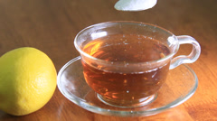 Cup of hot tea cold in winter. Stock Footage
