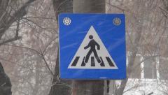 Car, Zebra Crossing Sign for Pedestrians Street, Road on Blizzard Snowing Day Stock Footage