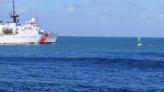 US Coast Guard cutter USCGC Escanaba WMEC-907 heavy cutter cruiser 3 Stock Footage