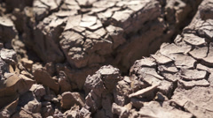 Dry Cracked Earth Closeup Stock Footage