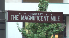 Street Sign Magnificent Mile Chicago on Michigan Ave Stock Footage