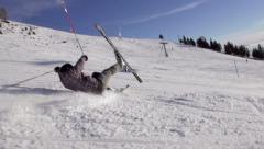 Slow-Mo: Skier Falling Down On Ski Track - stock footage