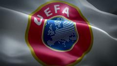 UEFA flag animation - stock footage