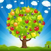 fruit tree with landscape - stock illustration