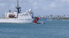 US Coast Guard cutter USCGC Escanaba WMEC-907 heavy cutter cruiser 2 Stock Footage