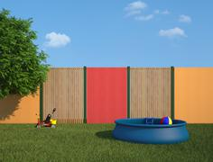 plastic swimming pool in the garden - stock illustration