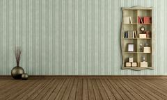 Stock Illustration of vintage room with old bookcase