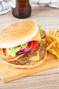 Big hamburger with  beer Stock Photos