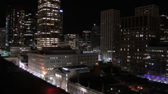 Pan, Zoom and Tilt - Nightime Cityscape Stock Footage
