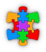 colorful jigsaw piece - stock illustration