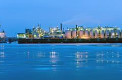 Industry at the river Elbe Stock Photos
