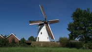 Stock Video Footage of Dutch Beltmolen, a windmill which stands on and in an artificial mound