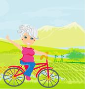 elderly woman on a bicycle - stock illustration