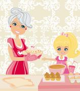 grandma baking cookies with her granddaughter - stock illustration