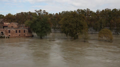 Panoramic view of Tiber river, Rome, Isola Tiberina Stock Footage