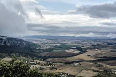 Beautiful view at the Navarra's valley in Spain. Stock Photos