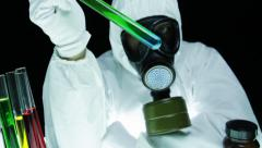 Radioactive Material Test Tube Chemist Gas Mask - stock footage