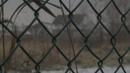 Stock Video Footage of Chain Link Fence, Suburbs, Cloudy Day, Winter