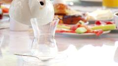 Turkish Breakfast with Turkish Tea Stock Footage