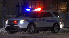 Police cars at night with lights Stock Footage
