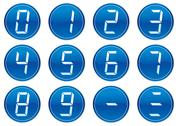 Stock Illustration of liquid crystal digits icons set.