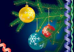 decorated christmas-tree branche. - stock illustration
