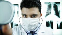 Doctor Examining Camera Delivering Bad News Concept Stock Footage