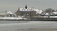 Narragansett towers in snow Stock Footage