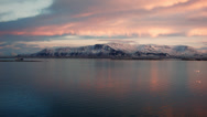 Stock Video Footage of Reykjavik Bay Calm Mt. Esja