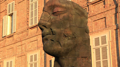 Modern art head, House of Savoy in Torino Stock Footage