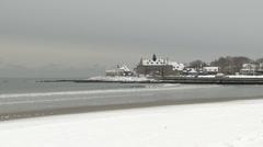 Narragansett, ri towers in snow Stock Footage