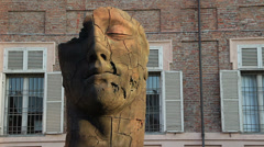 Modern art head in Torino, Italy Stock Footage