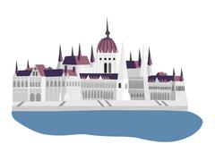 budapest parliament vector illustration - stock illustration