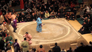 Stock Video Footage of Sumo Official in traditonal Japanese Attire Blessing Ring