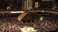 Sumo Competition View of Arean from the Stands - stock footage