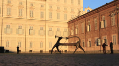 Modern art at residence of the House of Savoy in Torino (wide shot) Stock Footage