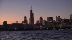 Chicago skyline by night Stock Footage