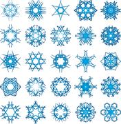 set of 25 a six-rays crystal gradient snowflakes. - stock illustration