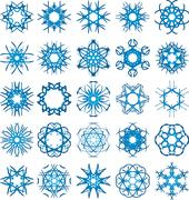 Set of 25 a six-rays crystal gradient snowflakes. Stock Illustration