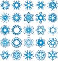 Stock Illustration of set of 25 a six-rays crystal gradient snowflakes.
