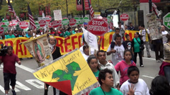 Demonstration protest march - stock footage